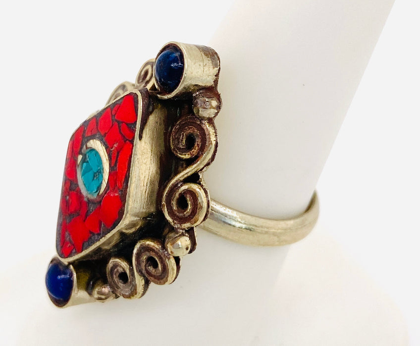1950's Vintage Tribal Sterling Silver Moroccan Ring