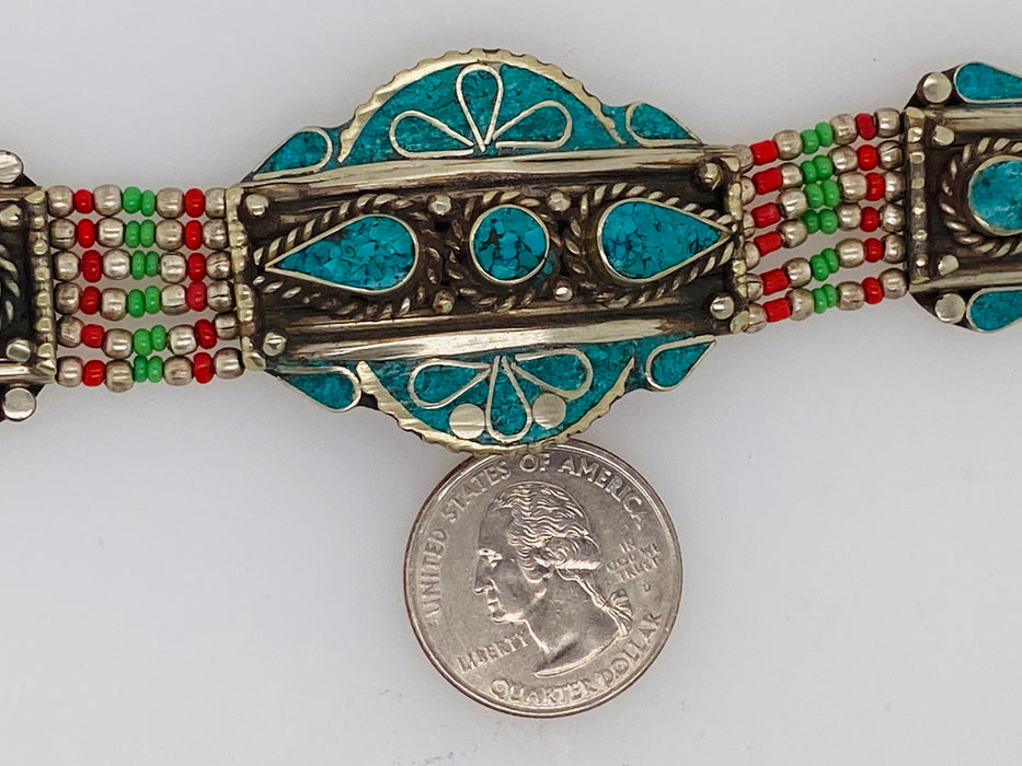 Vintage Moroccan Tribal Turquoise and Silver Bracelet 1950's