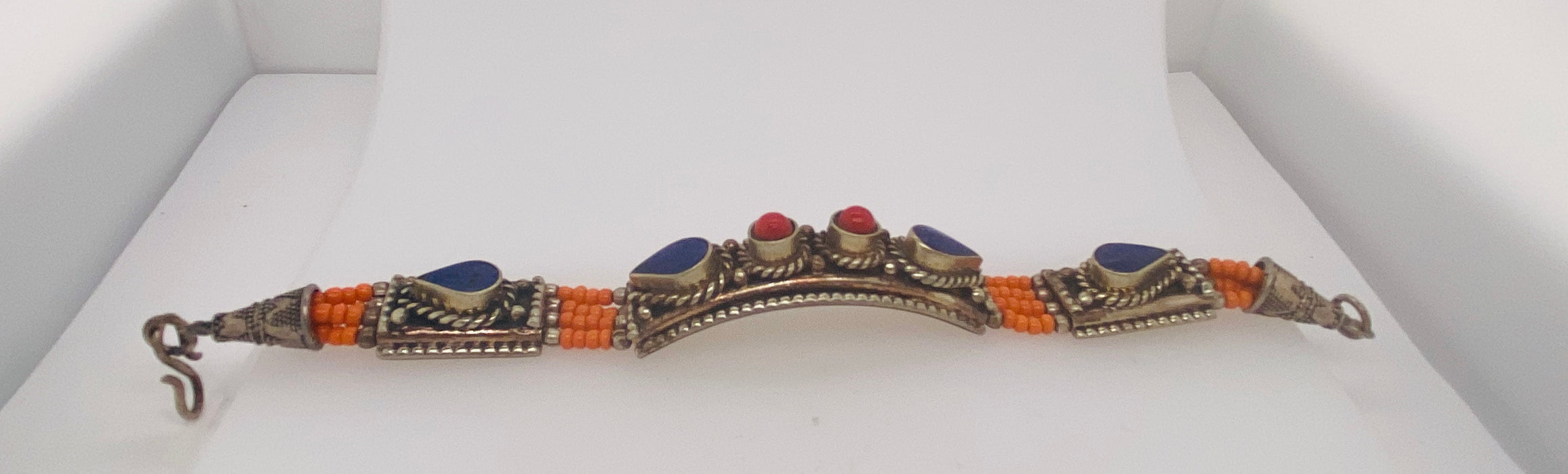 Moroccan Tribal Pure Silver Blue, Red & Orange Stones Bracelet 1950's