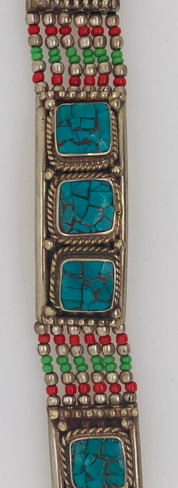 Moroccan Moorish Antique Turquoise and Silver Berber Bracelet