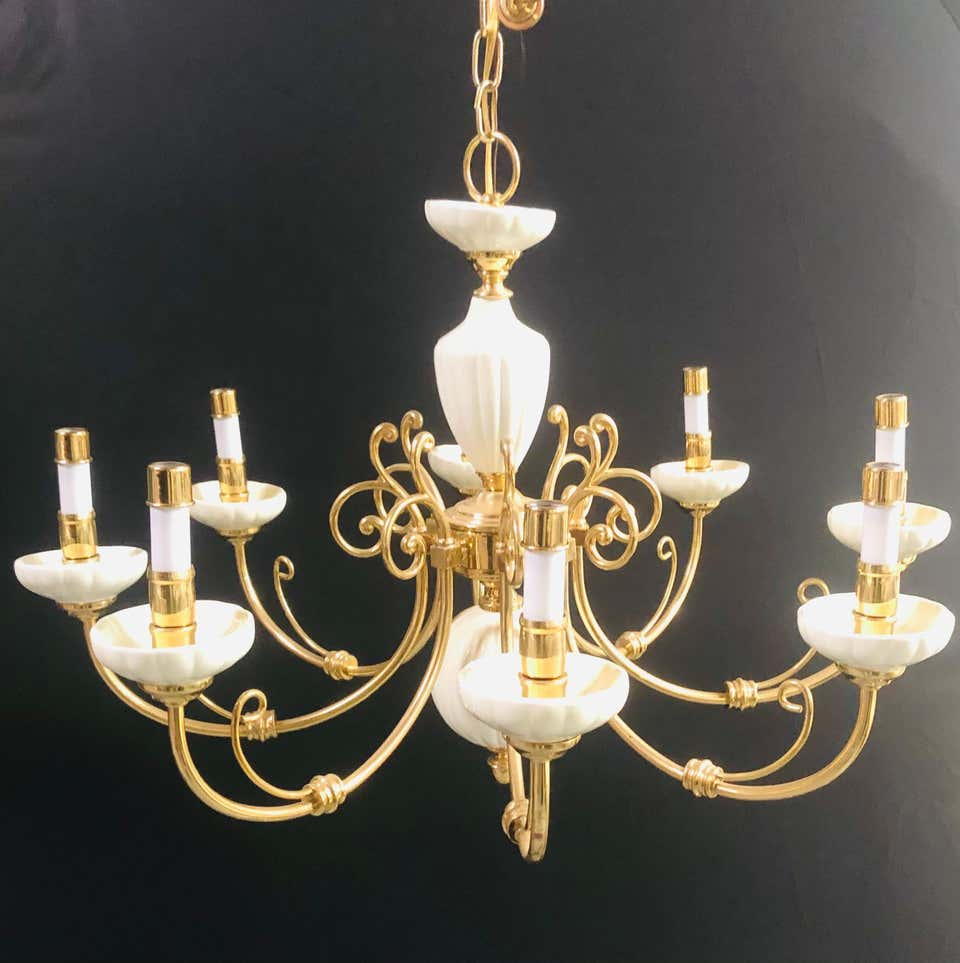 Georgian Style Brass and White Ceramic Eight-Arms Chandelier