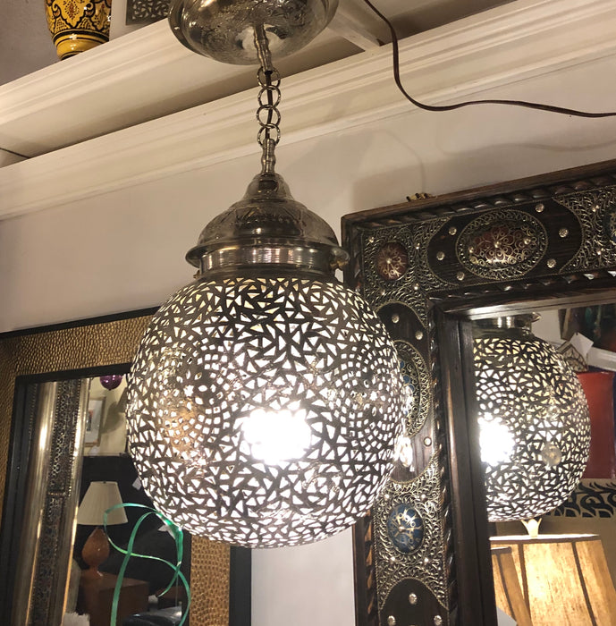 White Brass Round Shaped Modern Pendant or Chandelier- A Pair