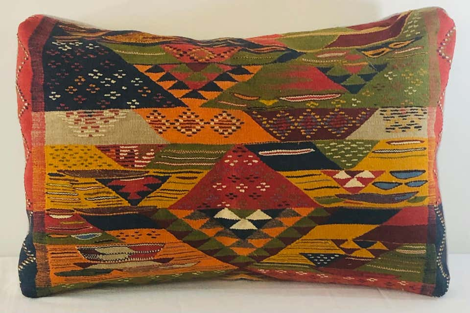 Tribal Wool Vintage Kilim Cushions, a Pair