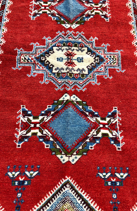 Berber Tribal Red Wool Rug