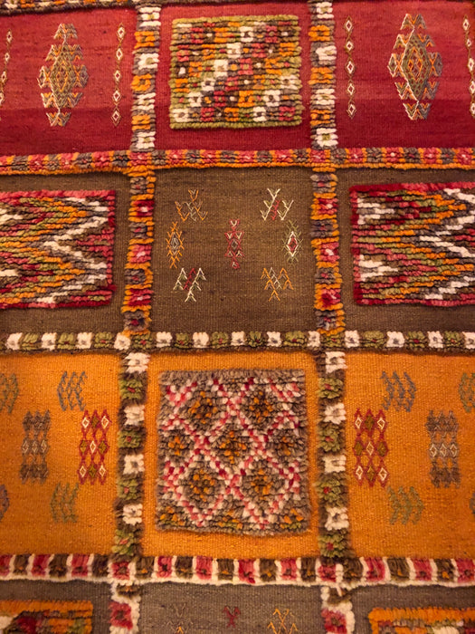 Berber Tribal Moroccan Mustard, Pink and Beige Wool Runner  Rug