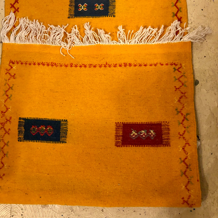 Berber Tribal Moroccan Mustard Yellow Runner Wool  Rug