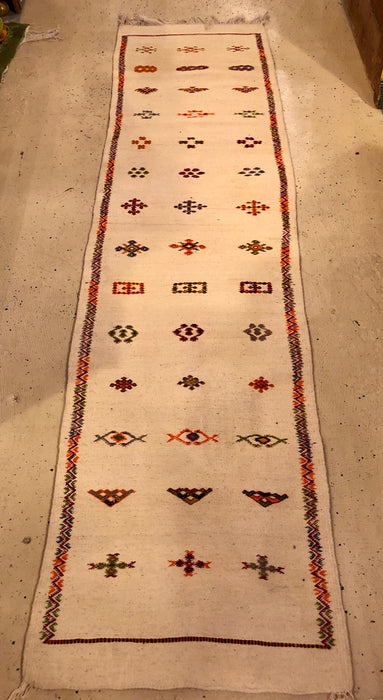Berber Tribal Moroccan Off White Runner Wool Rug