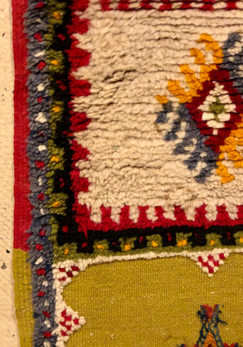 Berber Moroccan Tribal Multicolor Wool Runner  Rug