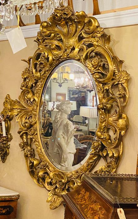 19th Century Console, Pier or Wall Mirror, Giltwood & Gesso Louis XV