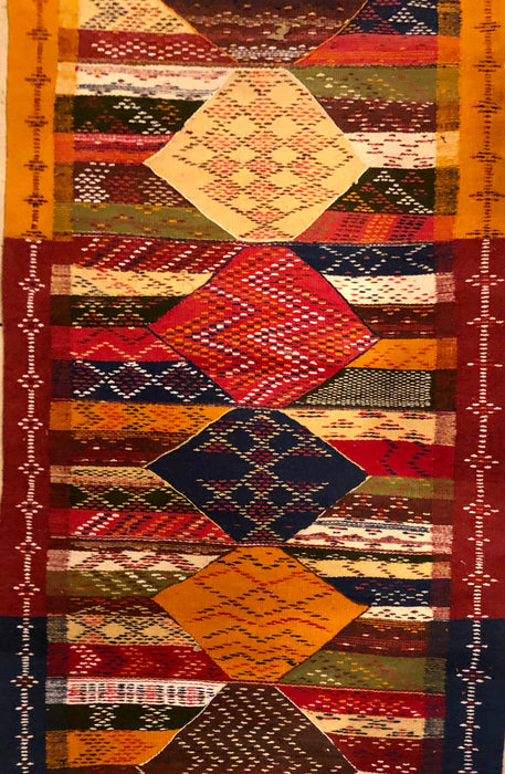 Flat-Weave Berber Tribal Multicolor Runner Wool Rug