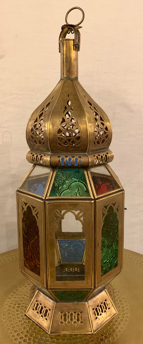 Pair of Handmade Vintage Moroccan Lanterns with Multi-Colored Glass