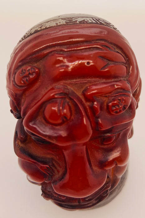 Antique Chinese Erotic Figural Amber Stamp Seal
