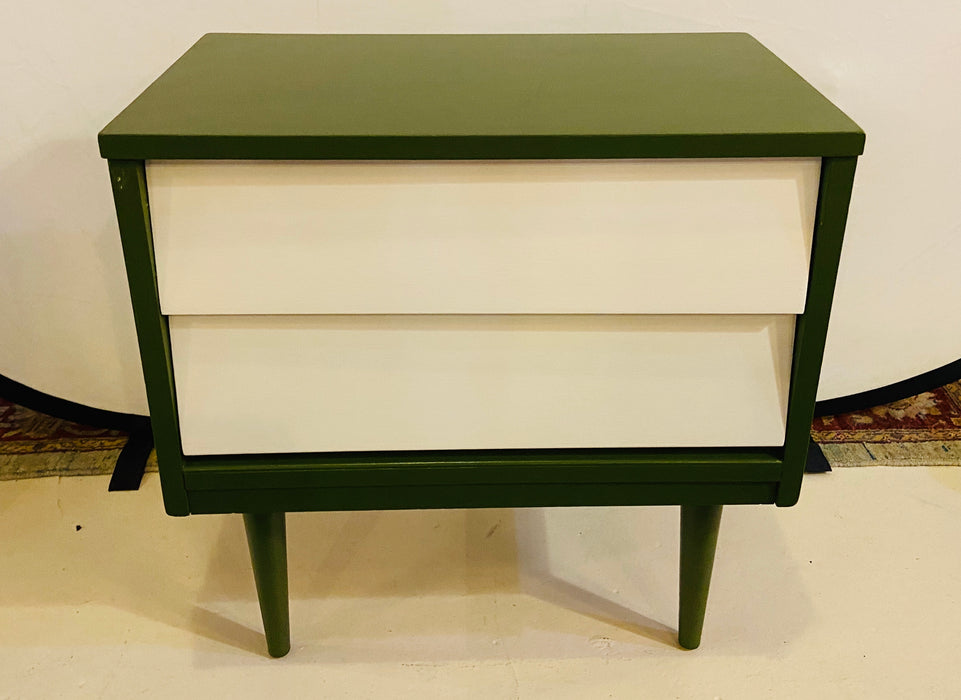 Pair of Mid Century Modern Two Tone Paint Decorated Night Stands or Lamp Tables
