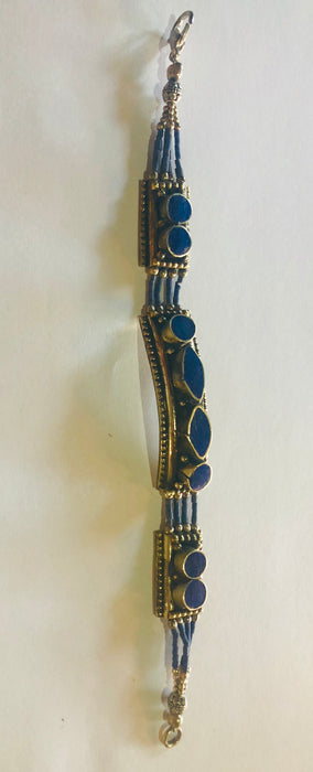Moroccan Moorish antique 1950's Blue and Silver Bracelet