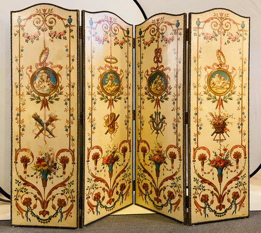 19th Century French Oil Canvas, Hand Painted Four-Panel Room Divider/Screen