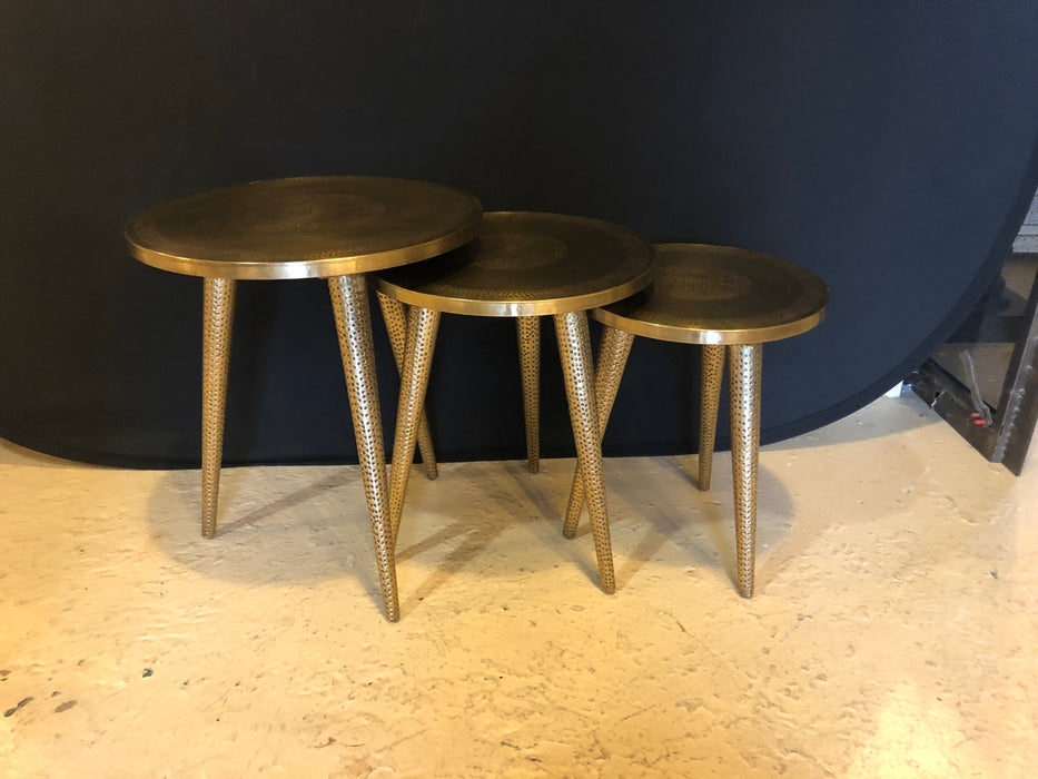 A Nest of Three Mid Century Modern Style Brass Nest of Tables or End Tables