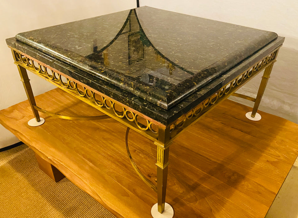 Hollywood Regency Granite Top on Brass Base Center Table
