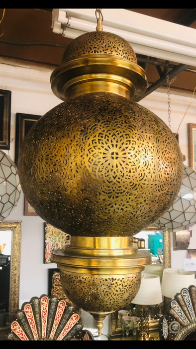 Moroccan Large Brass Chandelier or Pendant with Filigree Design, a Pair