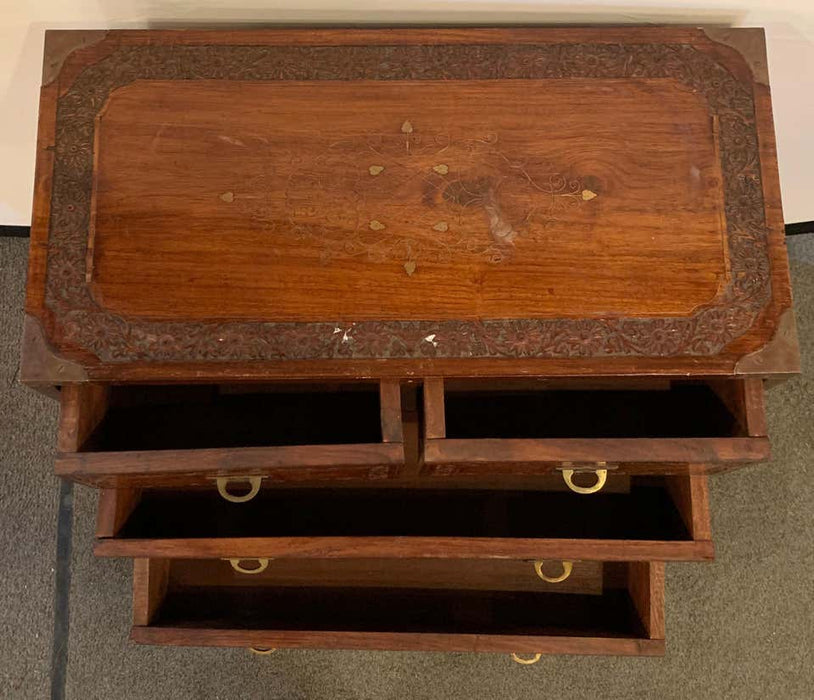 Diminutive Campaign Chest or Trunk Having Drawers and Brass-Boule Inlays