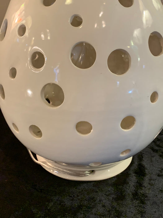 White Egg Shaped Moroccan Table Lamp