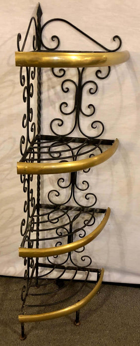Brass and Wrought Iron Four-Tier Diminutive Bakers Rack