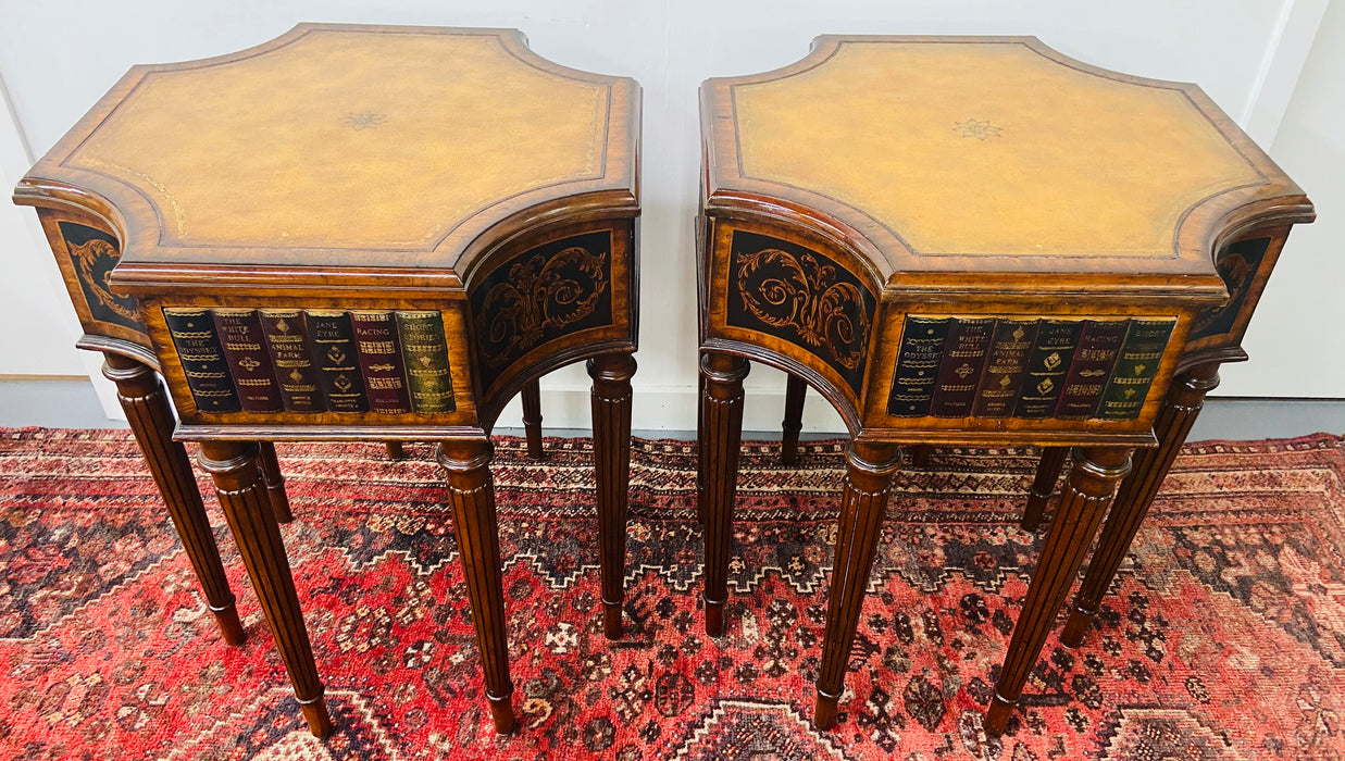 Regency Style Maitland Smith Mahogany and Leather Library Book Table, a Pair
