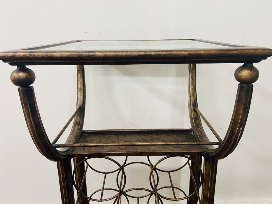 Vintage Wine Rack Metal Table in Antiqued Finish