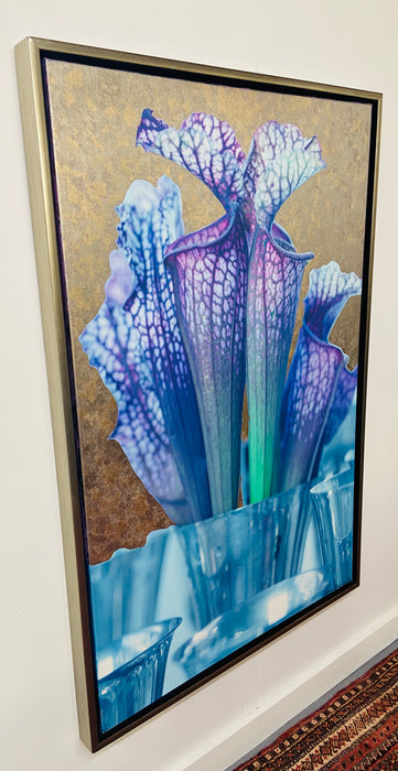 "Mixed Media on Canvas with 23 Karat Gold Leaf Titled ""Trumpets"", Framed"