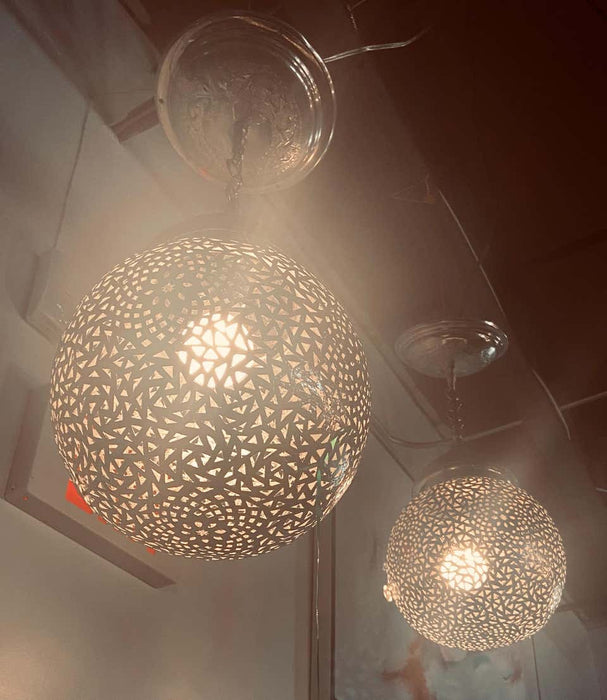Silver Round Modern Moroccan Pendant or Chandelier, a Pair