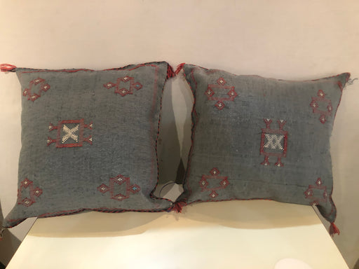 A Pair of Wool Hand-loomed Moroccan Tribal Design Pillows