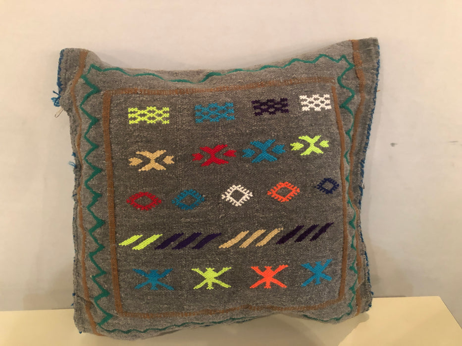 Hand-loomed Moroccan Wool Tribal Design Pillow