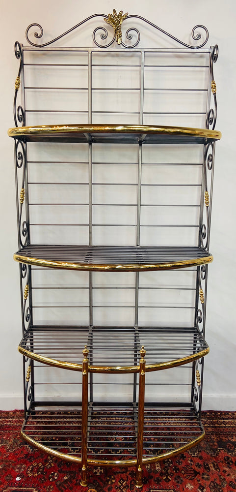 Hollywood Regency Bakers Rack or Shelf, Four Tier Wrought Iron and Brass