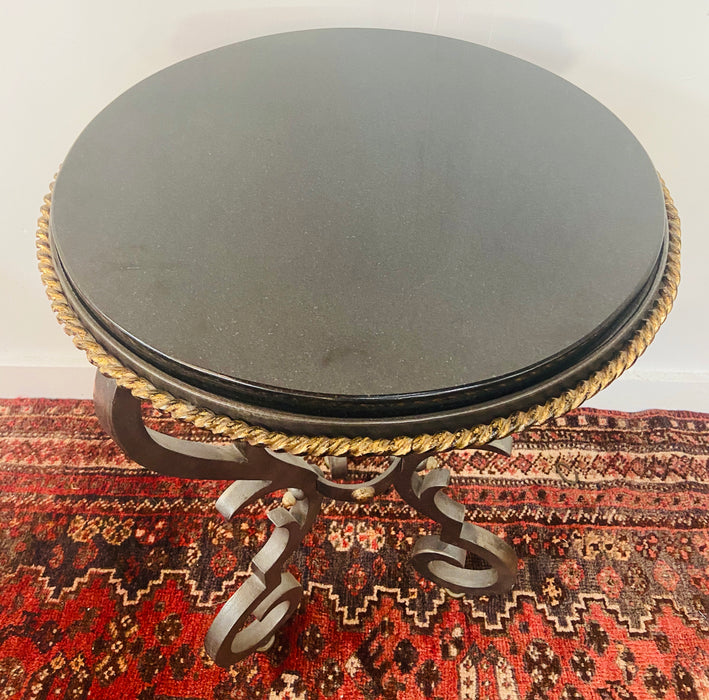 French Black Gueridon Table with Cast Iron Scroll Legs