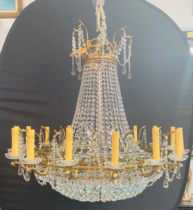 Rare Large Louis XVI Empire Style Bronze and Crystal Chandelier