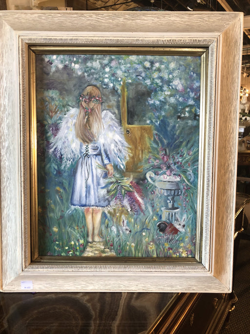 Oil on Canvas of a Young Girl in a Garden Signed Kimberly Van Rossom in the Fashion of Degas