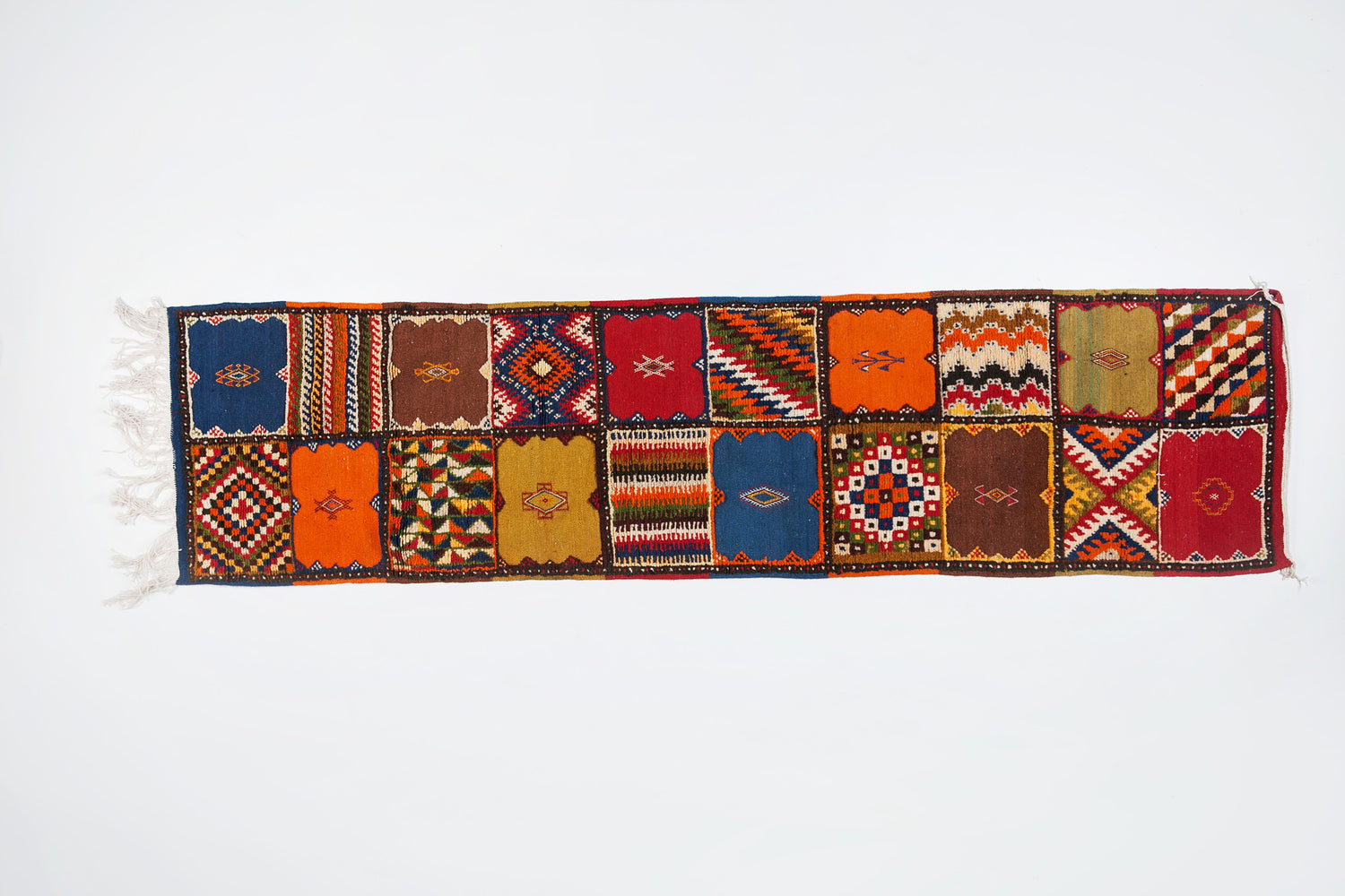 Berber Rug - Runner with Handwoven Patchwork Pattern