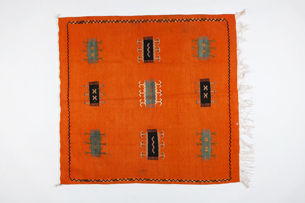 Berber Rug - Handwoven Wool with Orange Organic Dye