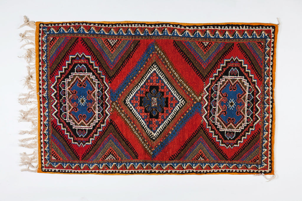Berber Rug - Medium from Handwoven Wool and Hypnotic Pattern