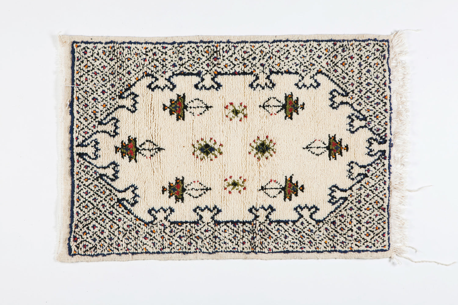 Berber Small Rug - Handwoven Wool with Organic White Dye
