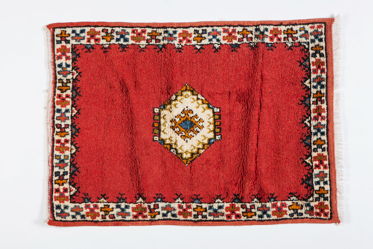 Berber Rug - Diamond on Deep Red Background Handwoven