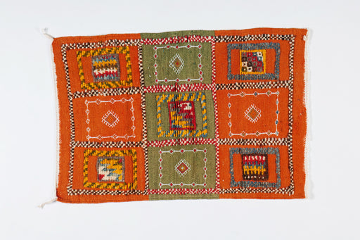 Berber Rug- Small with Green and Orange Panels