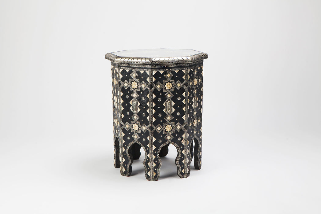 A Pair of Andalous Modern Moroccan Ebonized Wood with White Brass and Bone Inlaid Table