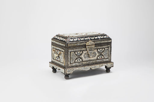 Moroccan Chest or Jewelry Box in Camel Bone and Brass Inlaid