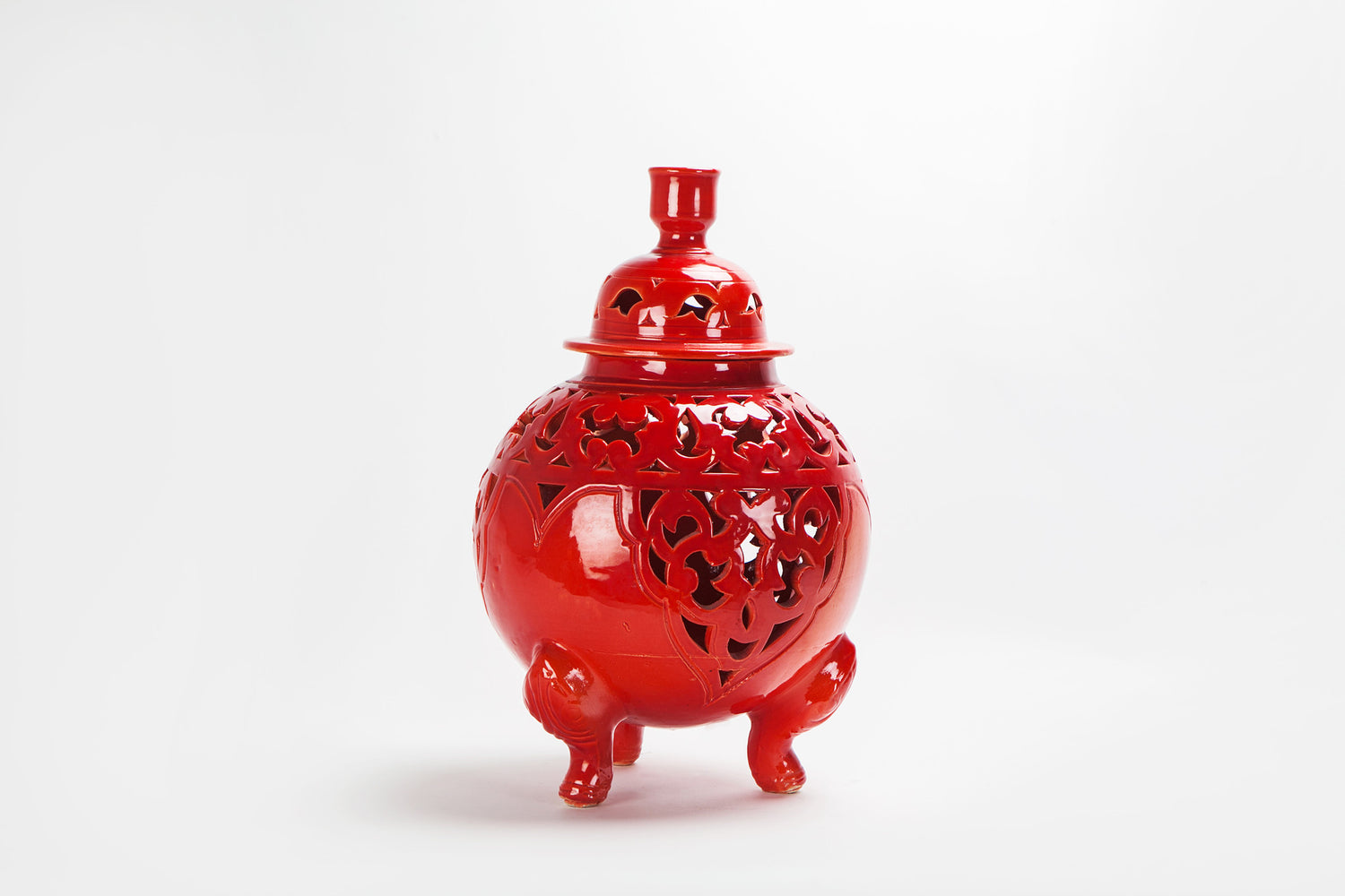 Oriental Red Ceramic Lidded Vase or Urn