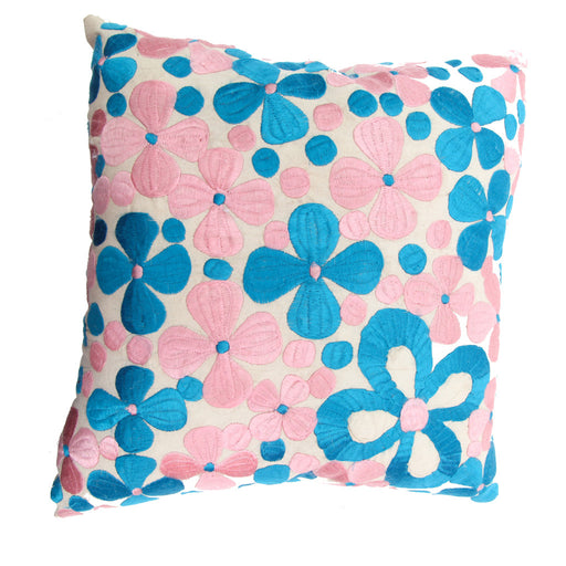 Rabati Light Pink and Turquoise Pillow Handmade in Morocco