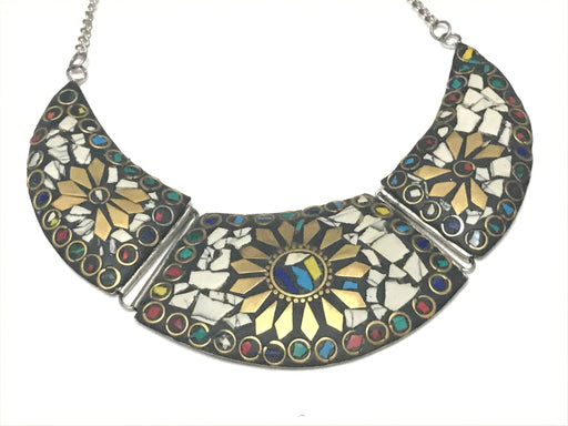 White stone with gold tone eclectic Necklace