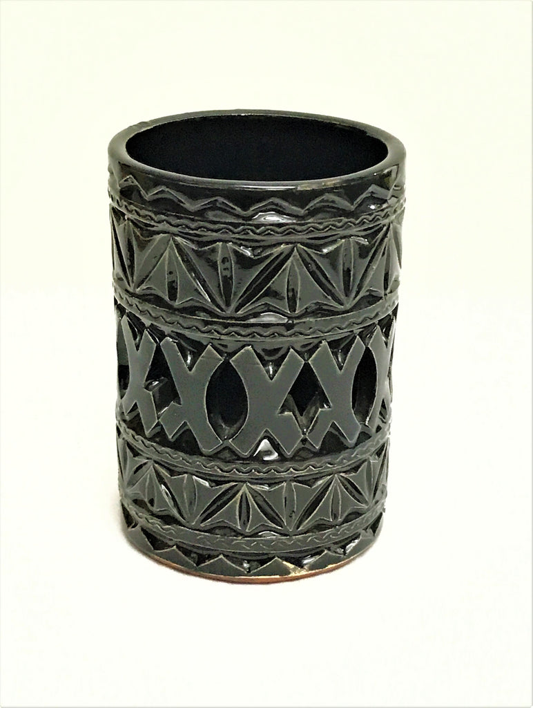 MOROCCAN BLACK CERAMIC TEALIGHT CUP