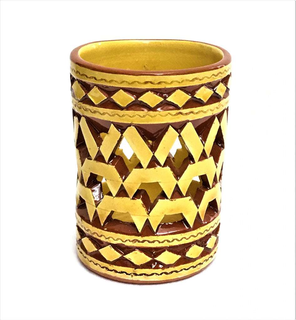 MOROCCAN MUSTARD CERAMIC TEALIGHT CUP
