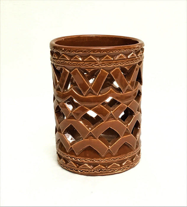 MOROCCAN BROWN CERAMIC TEALIGHT CUP