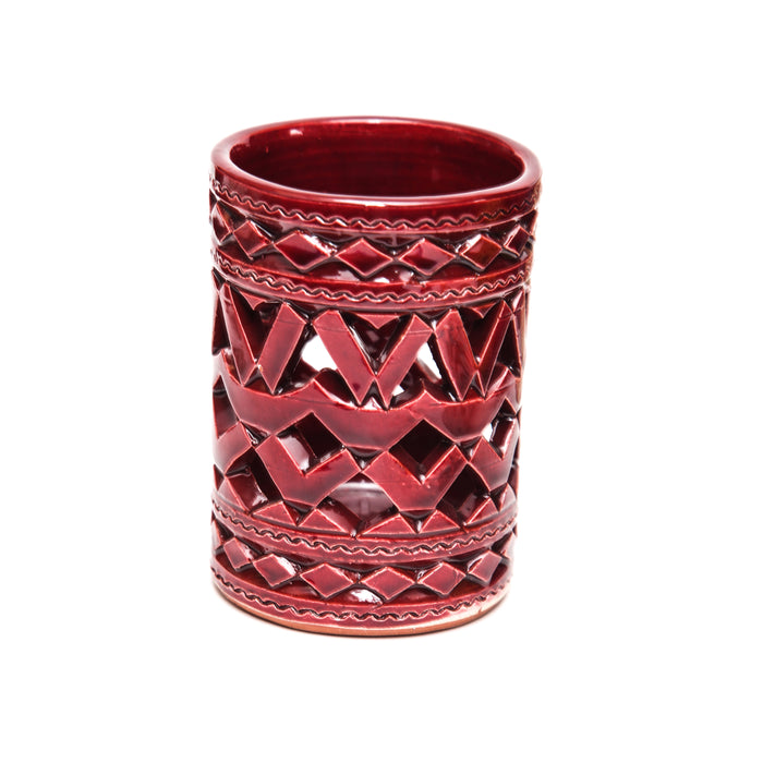 MOROCCAN  BURGUNDY CERAMIC TEALIGHT CUP